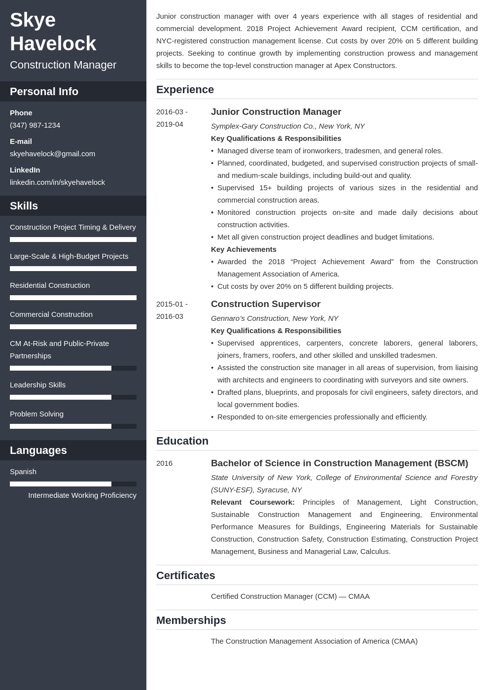 construction manager resume example template cascade