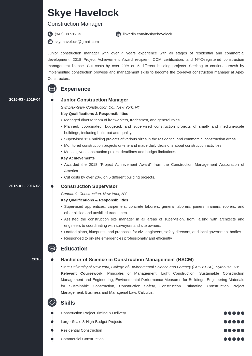 construction manager resume example template concept