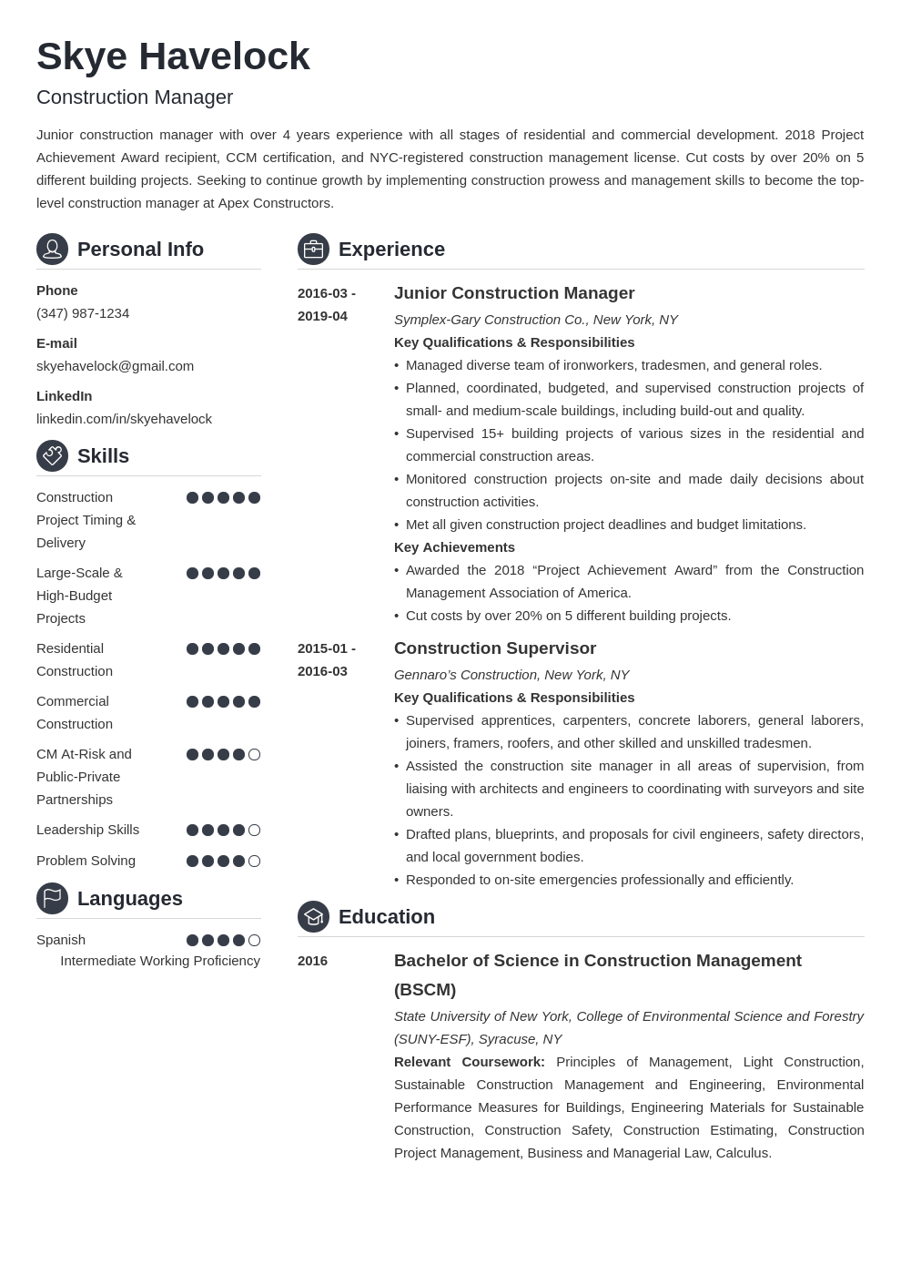 construction manager resume example template crisp