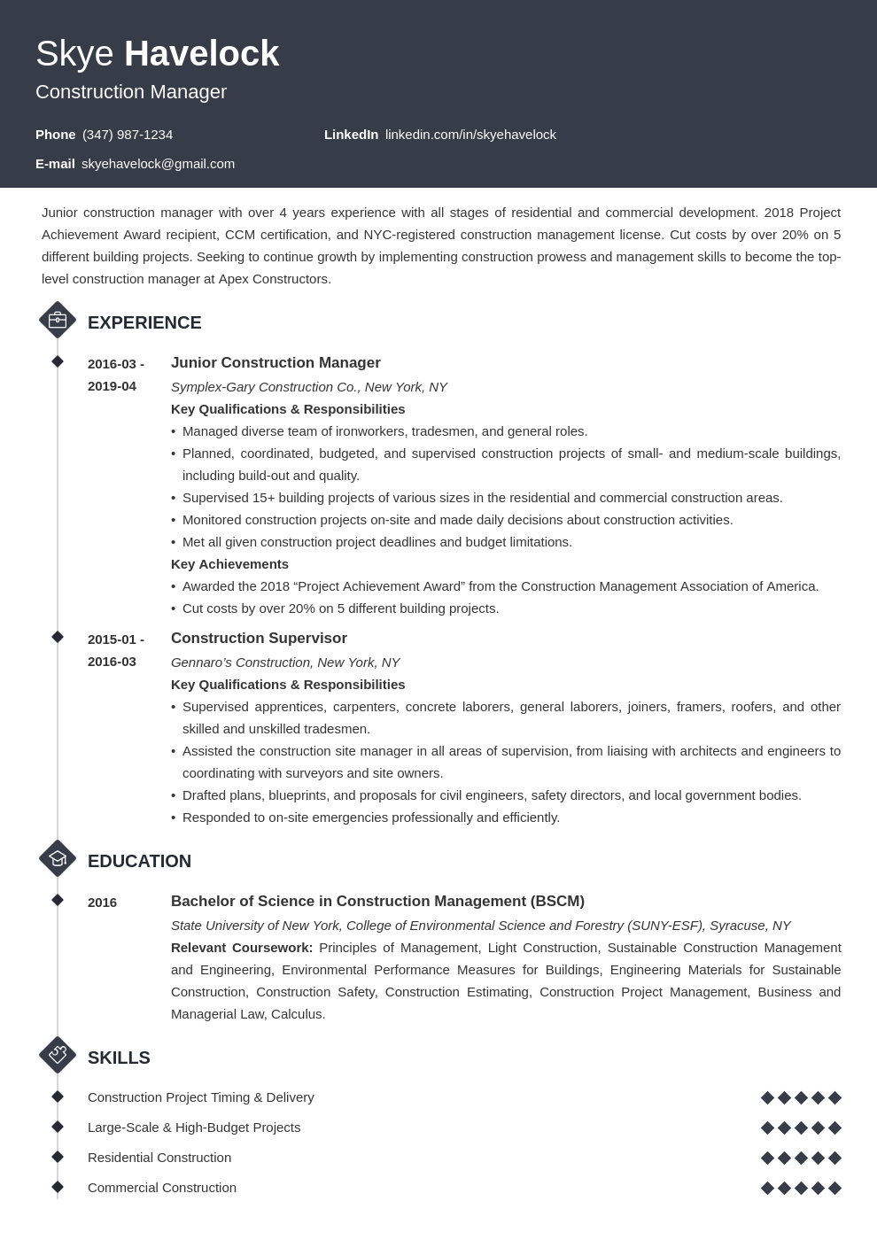 construction manager resume example template diamond