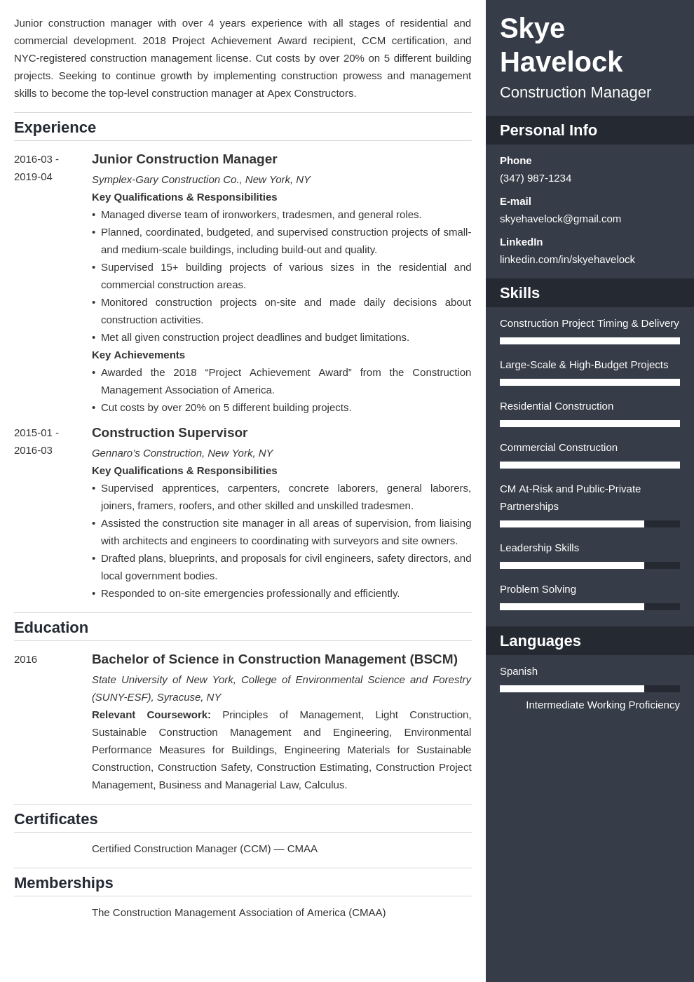 construction manager resume example template enfold