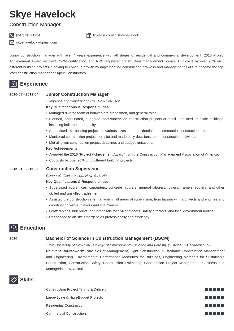 construction manager resume example template iconic
