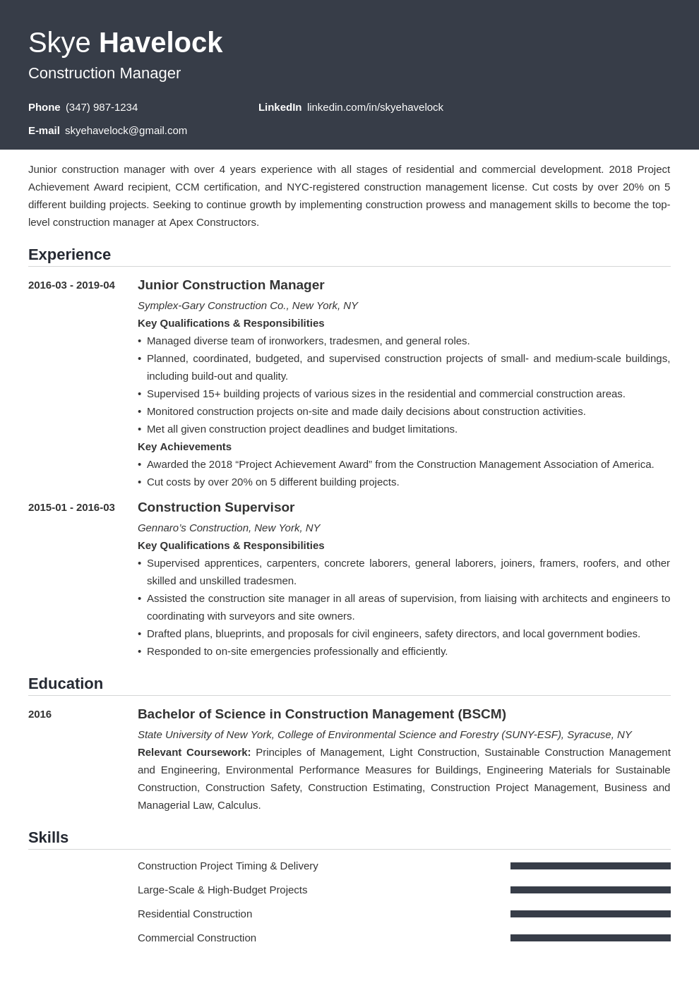 construction manager resume example template influx