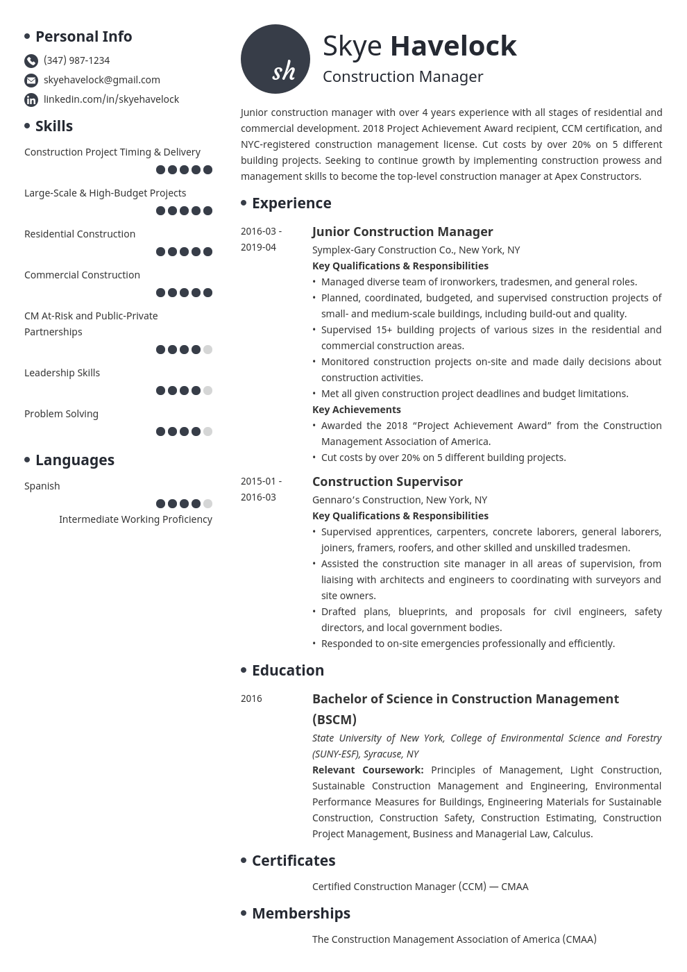 construction manager resume example template initials
