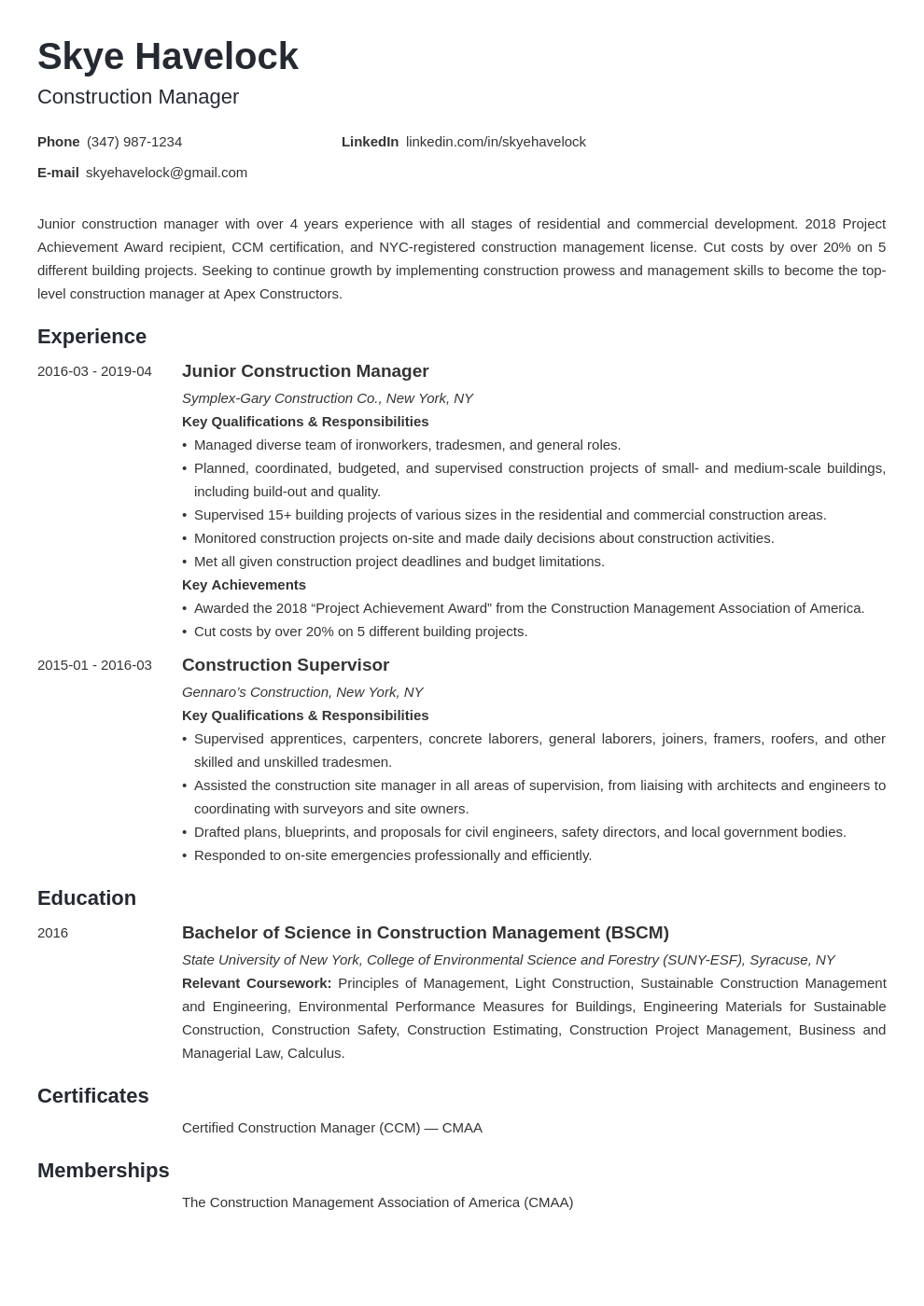 construction manager resume example template minimo