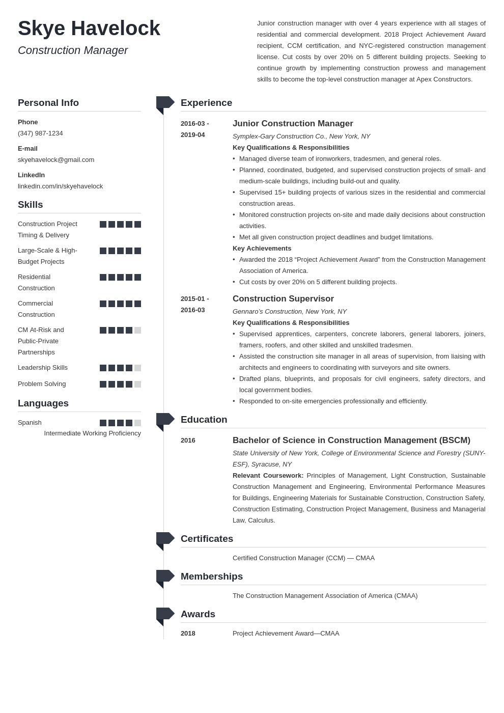 construction manager resume example template muse