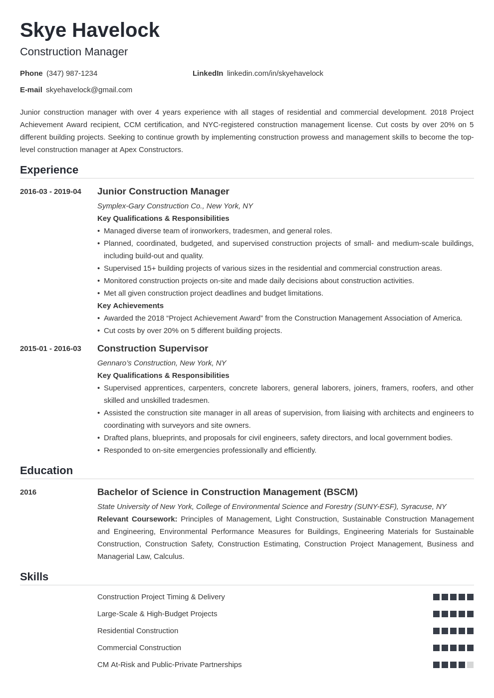construction manager resume example template nanica