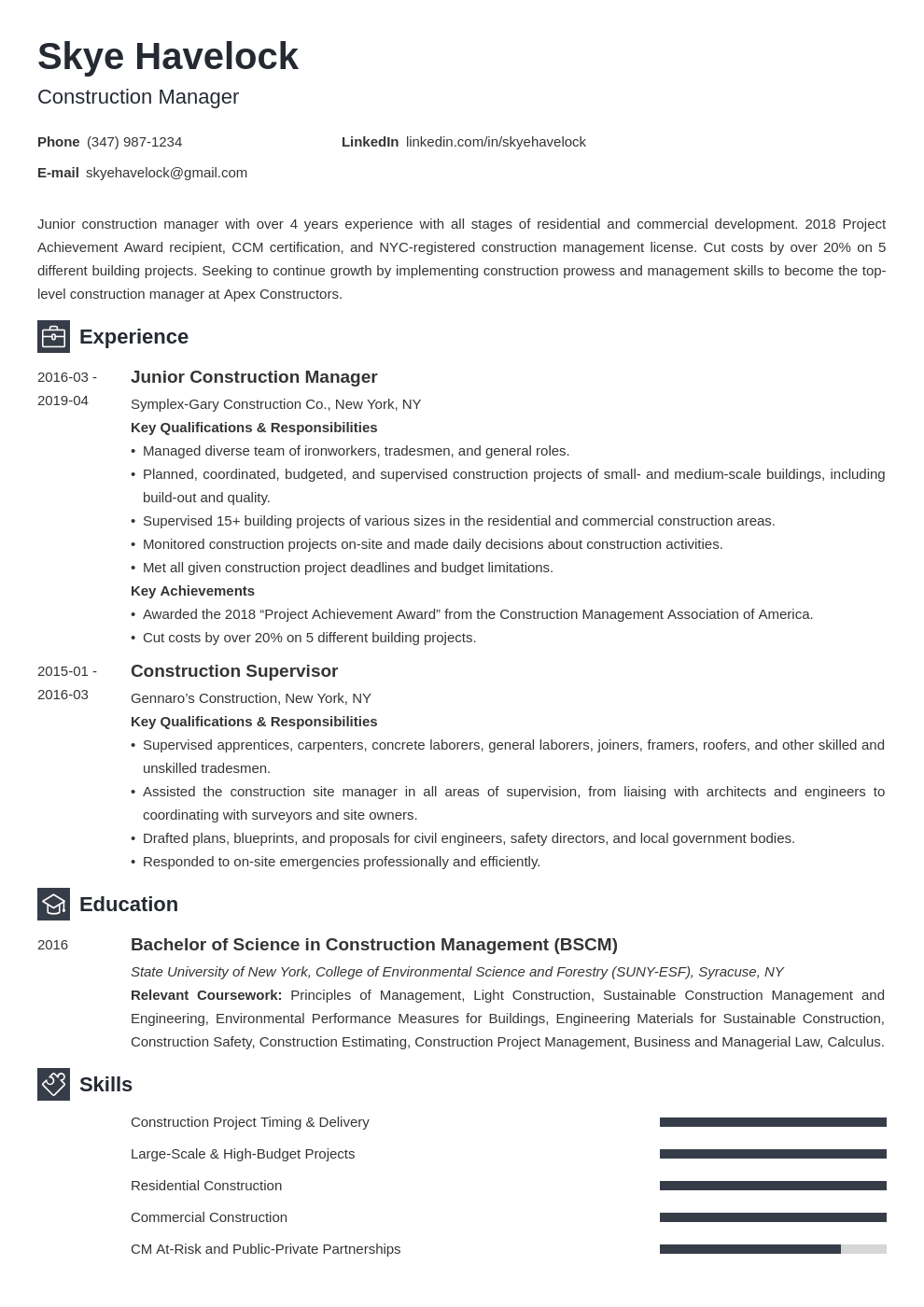 construction manager resume example template newcast