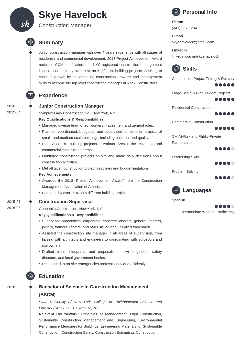 construction manager resume example template primo