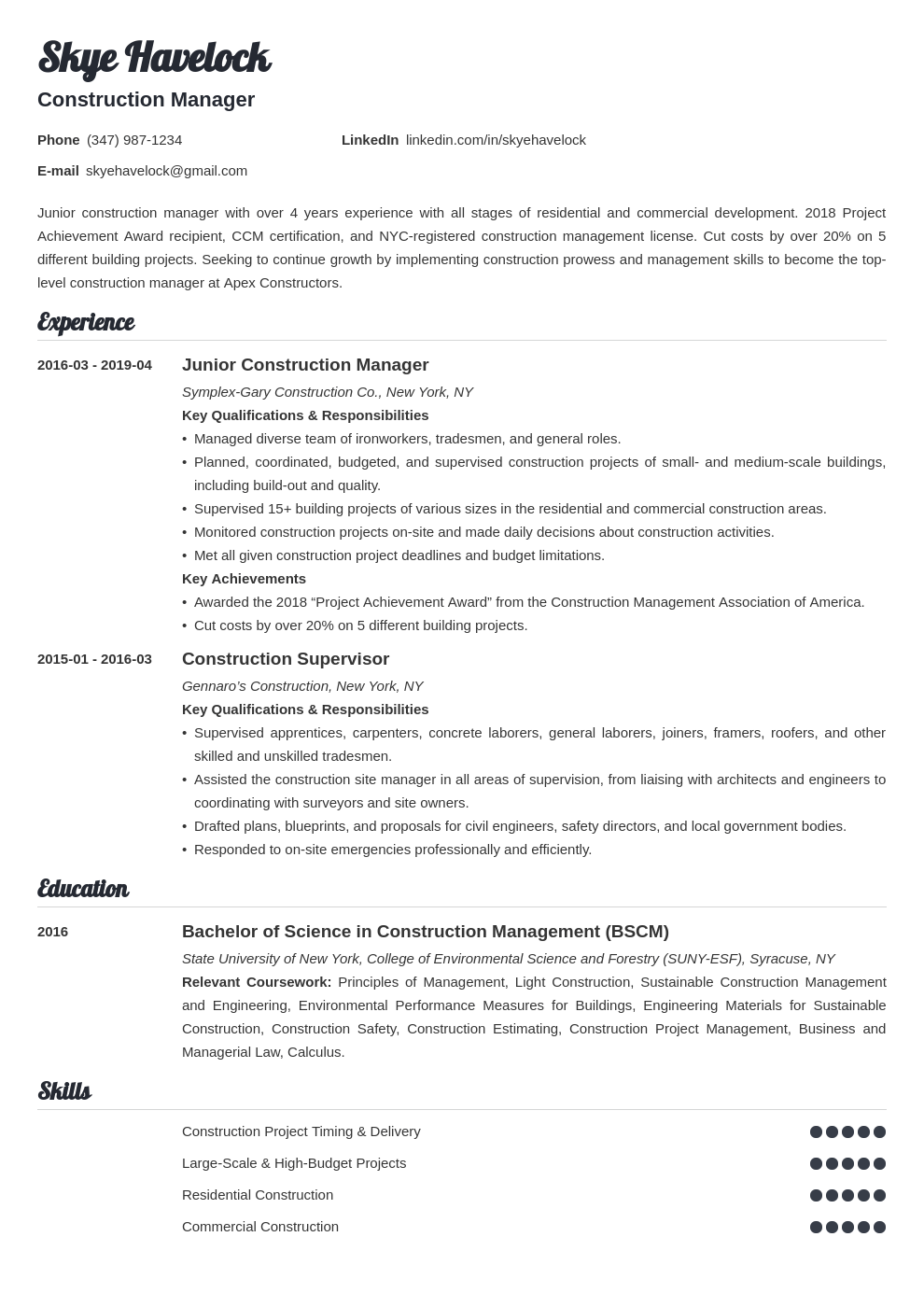 construction manager resume example template valera