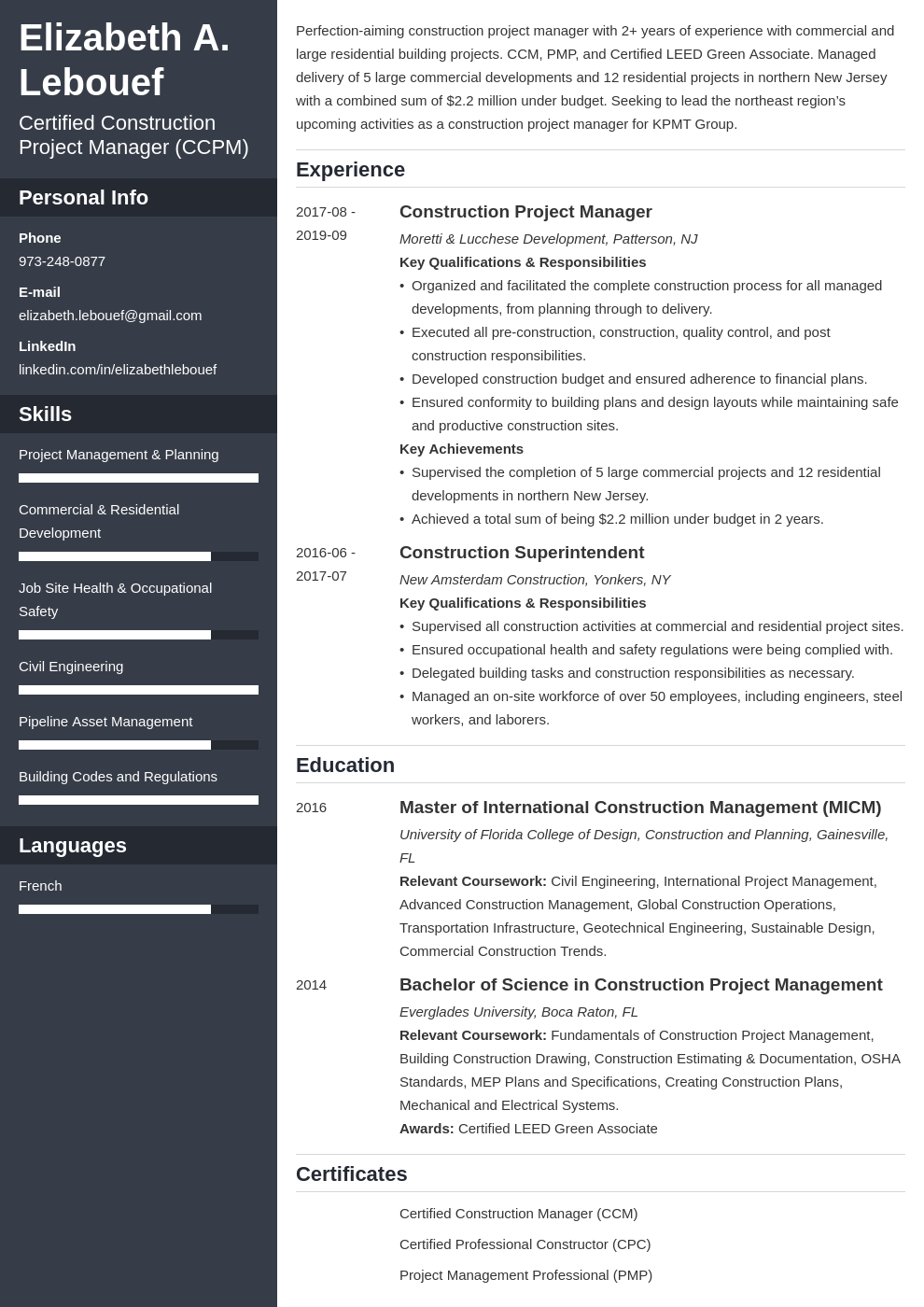 construction project manager resume example template cascade