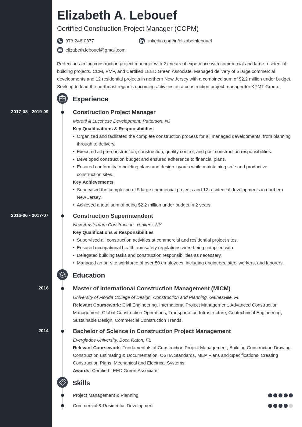 construction project manager resume example template concept