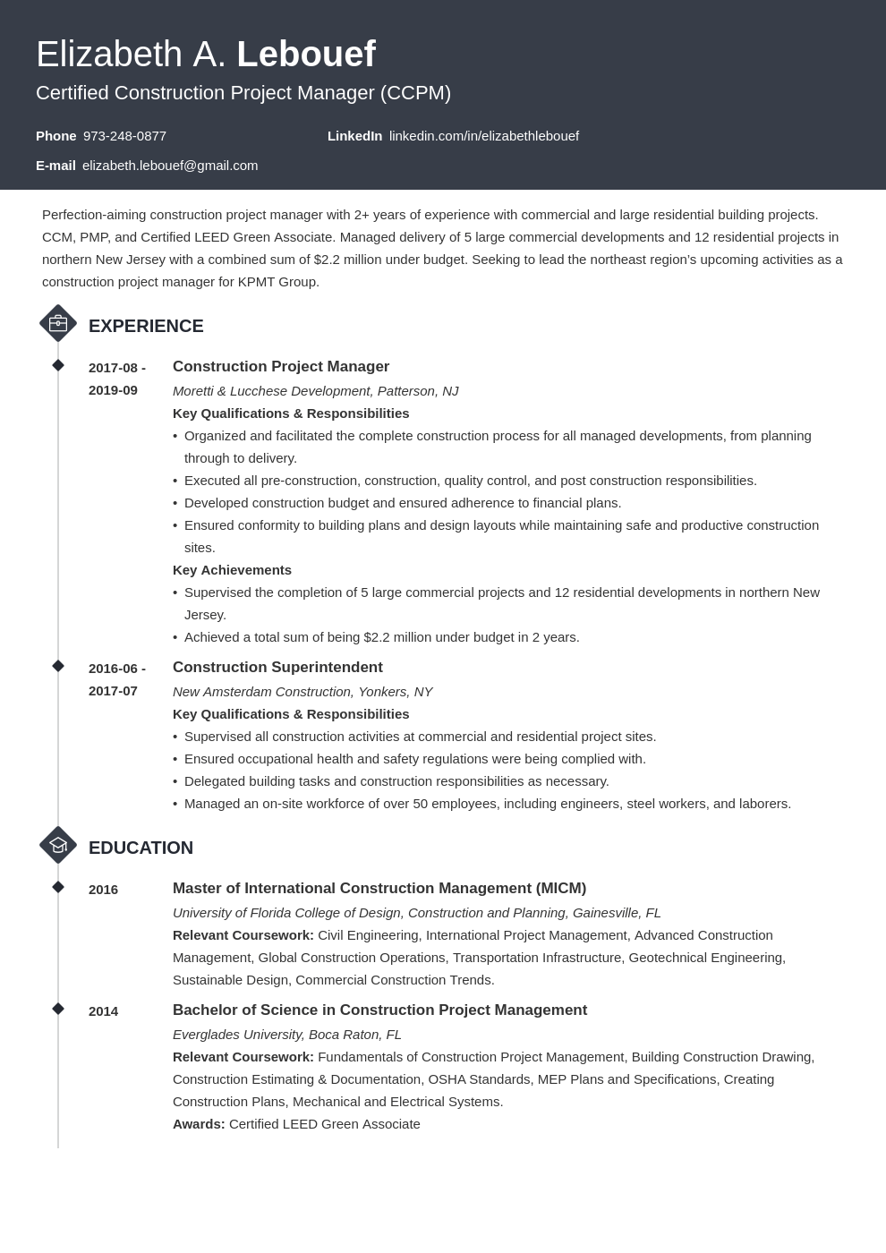 construction project manager resume example template diamond