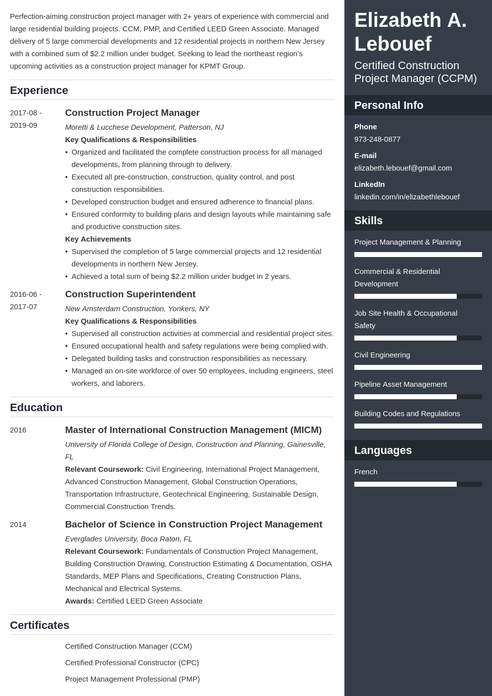 construction project manager resume example template enfold