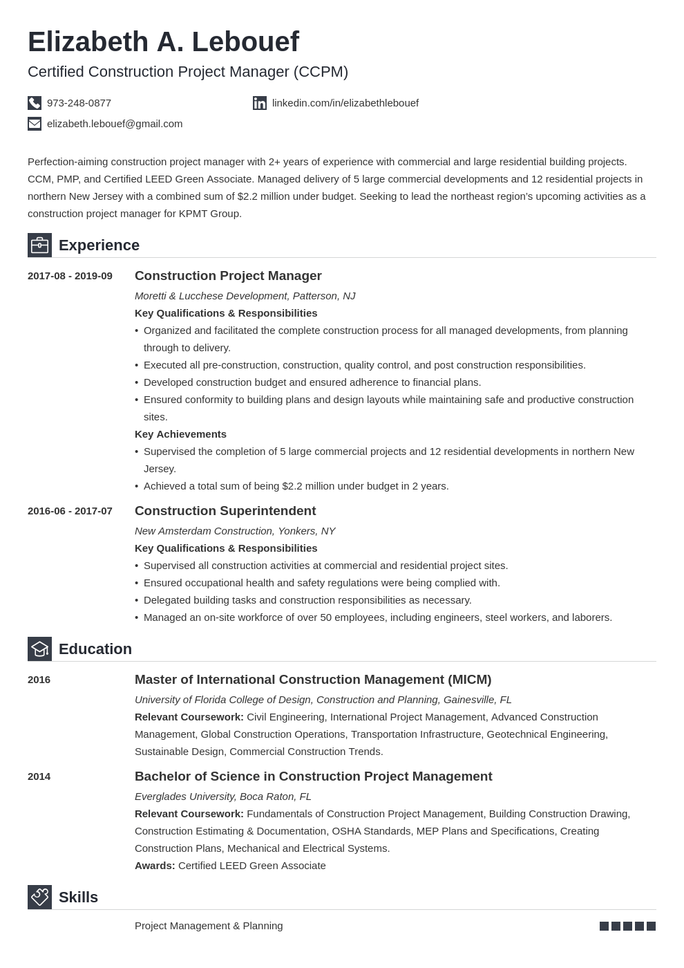construction project manager resume example template iconic