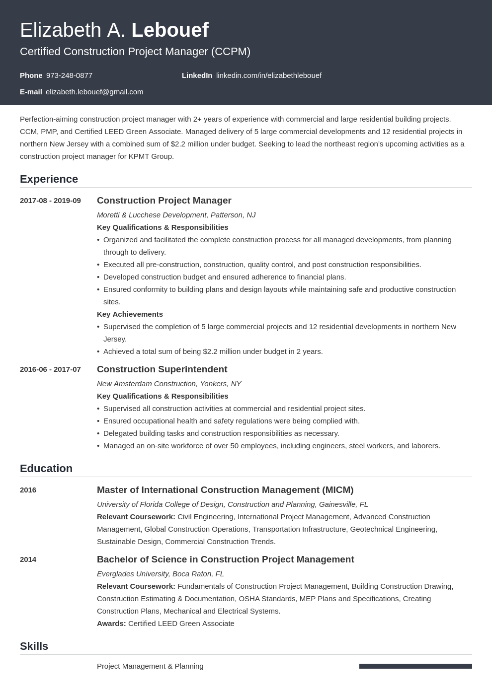 construction project manager resume example template influx