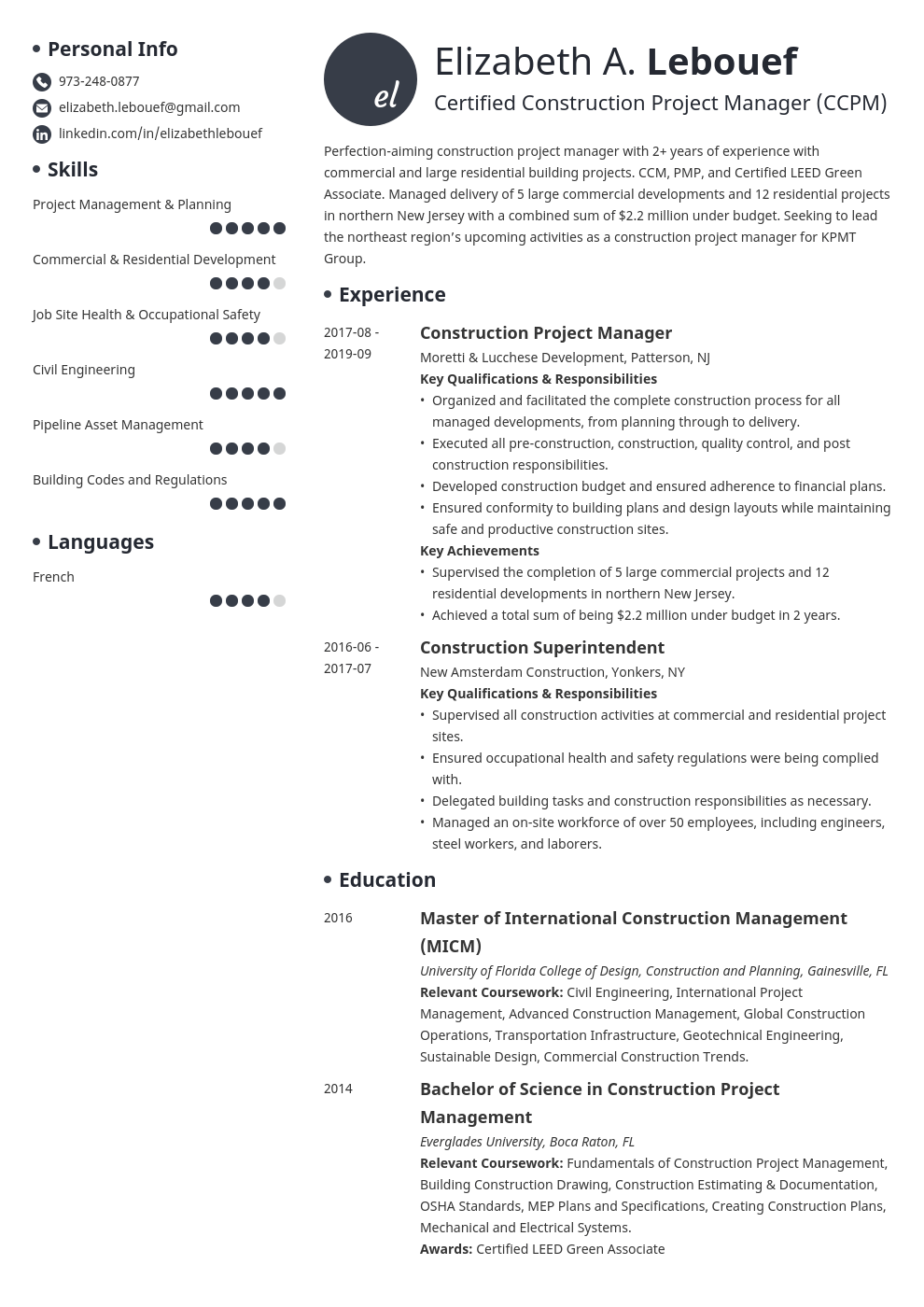 construction project manager resume example template initials