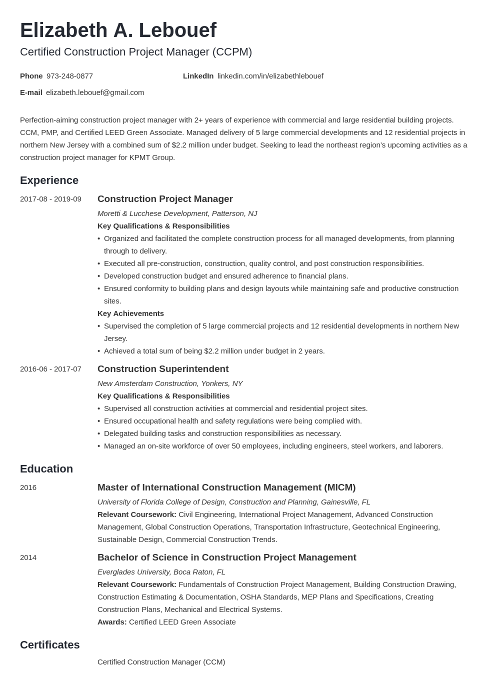 Construction Project Manager Resume Sample Guide