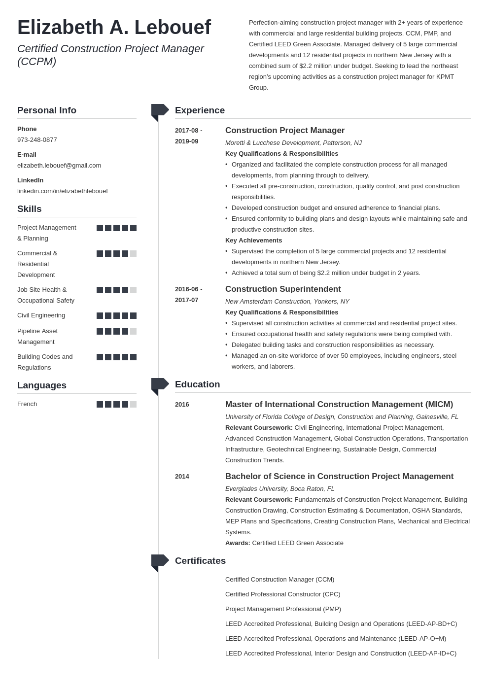 construction project manager resume example template muse