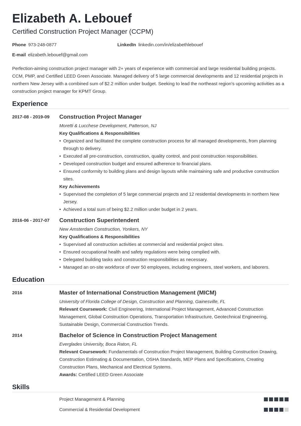 Construction Project Manager Resume Examples Guide