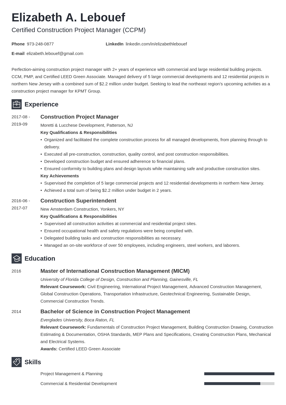construction project manager resume example template newcast
