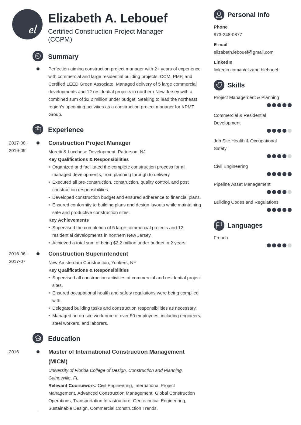 construction project manager resume example template primo