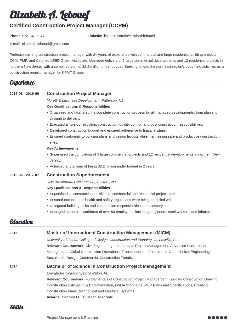 construction project manager resume example template valera