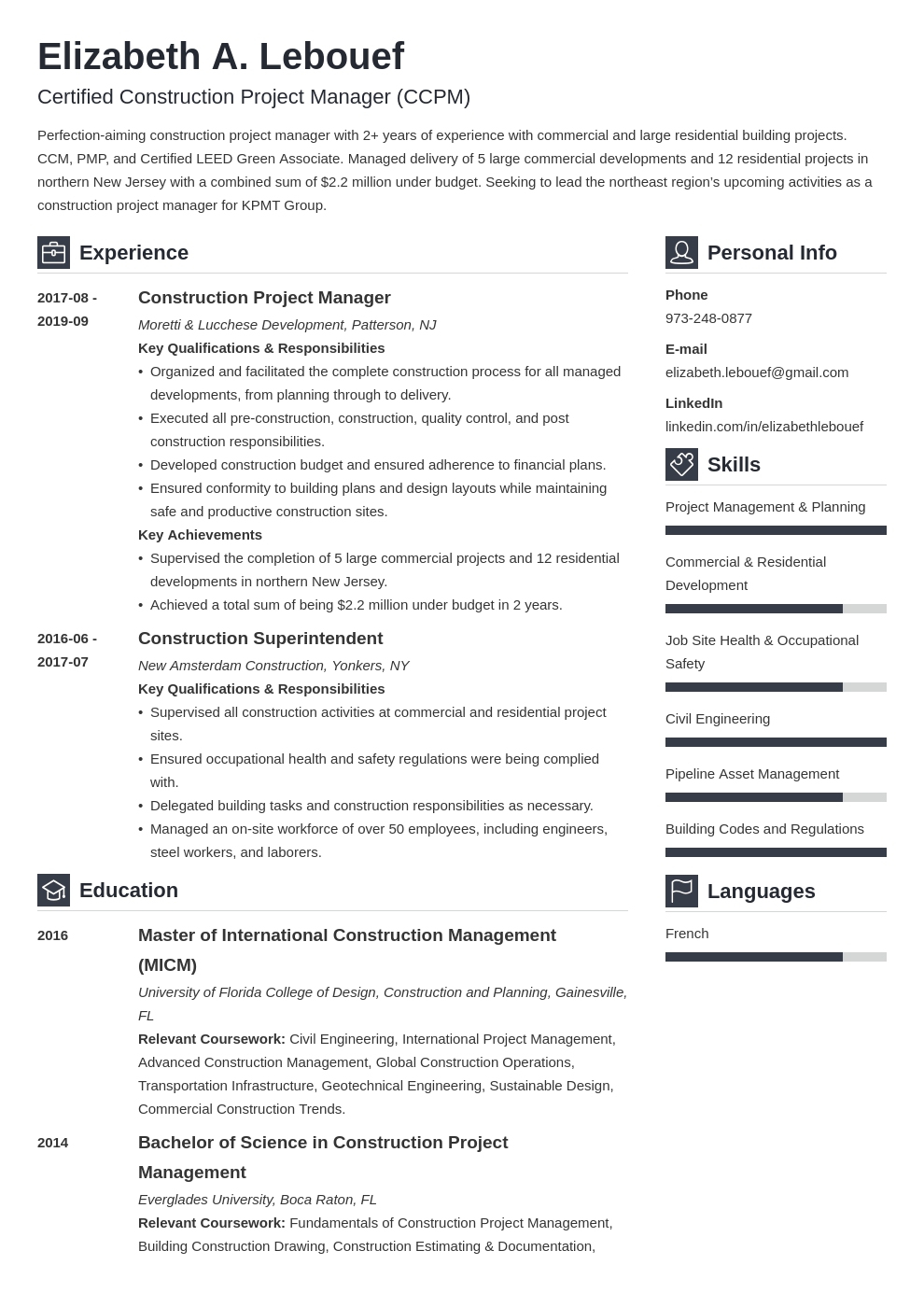 construction project manager resume example template vibes