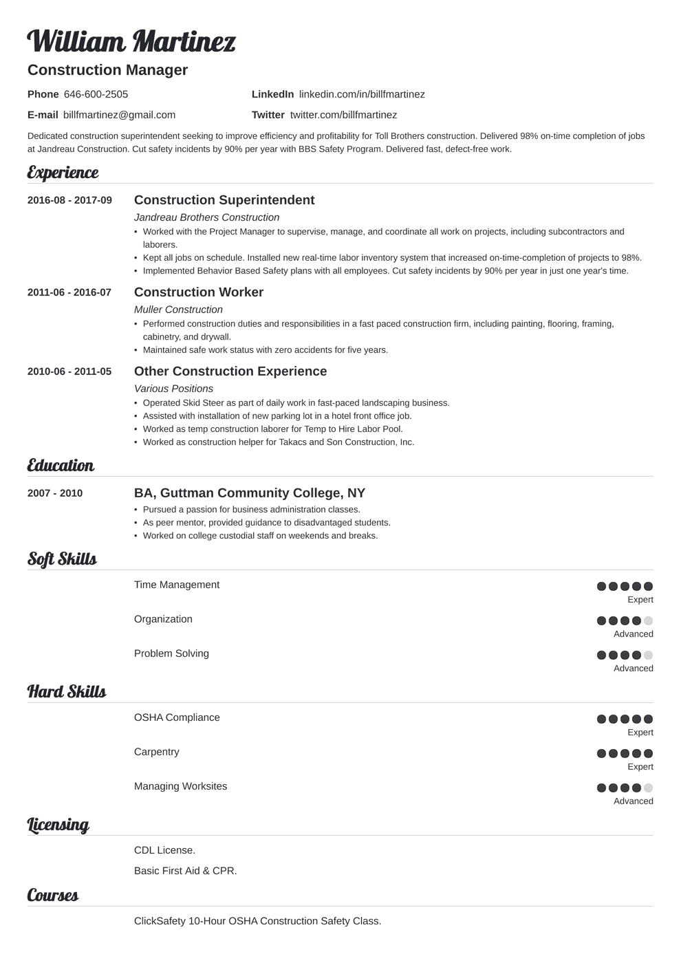 Construction Resume Sample And Complete Guide 20 Examples
