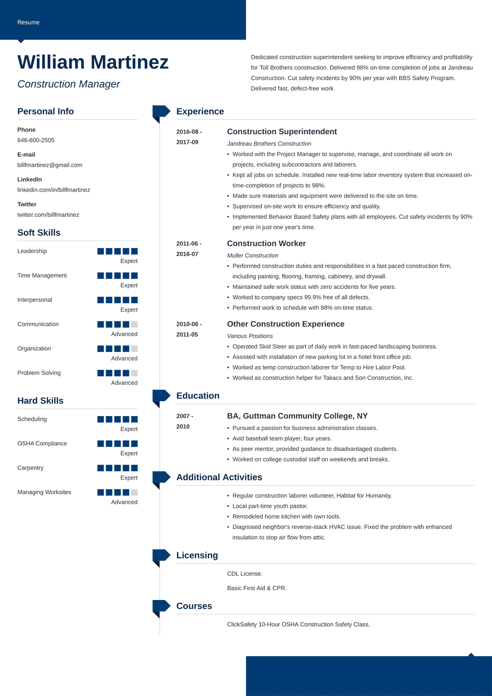 construction worker resume examples template  skills