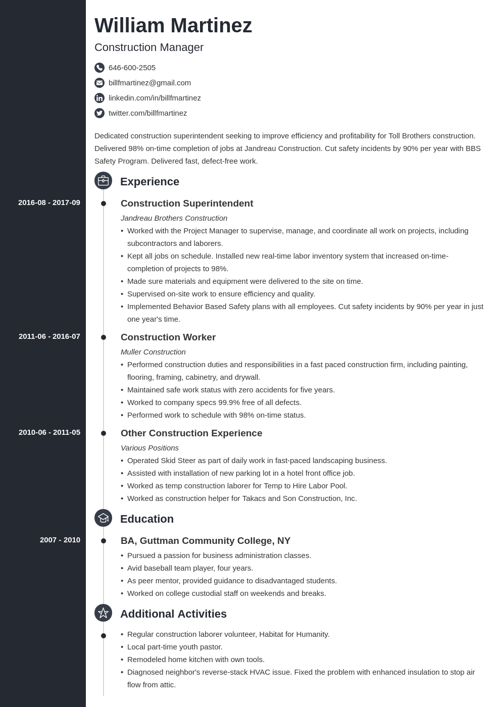 construction resume example template concept