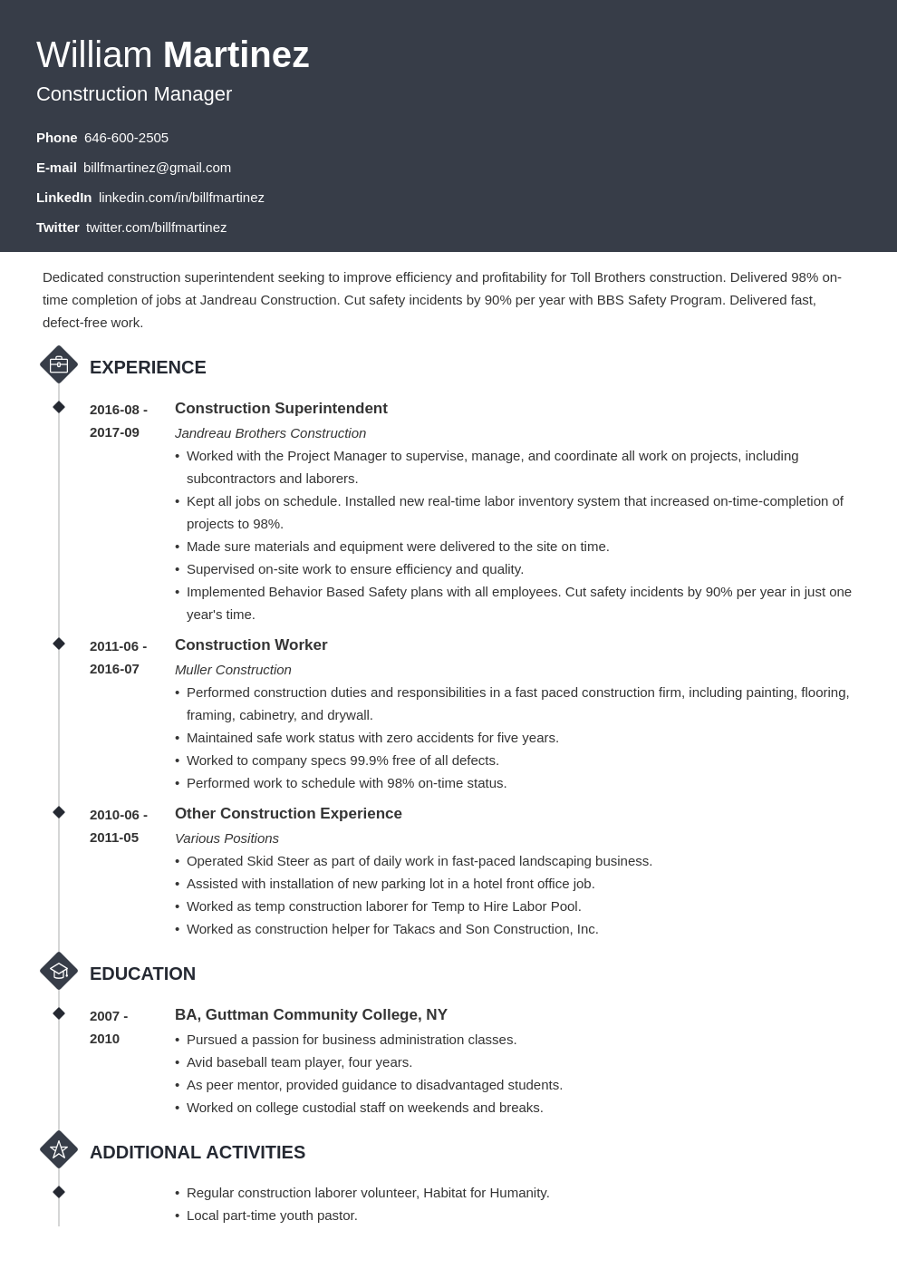 construction resume example template diamond
