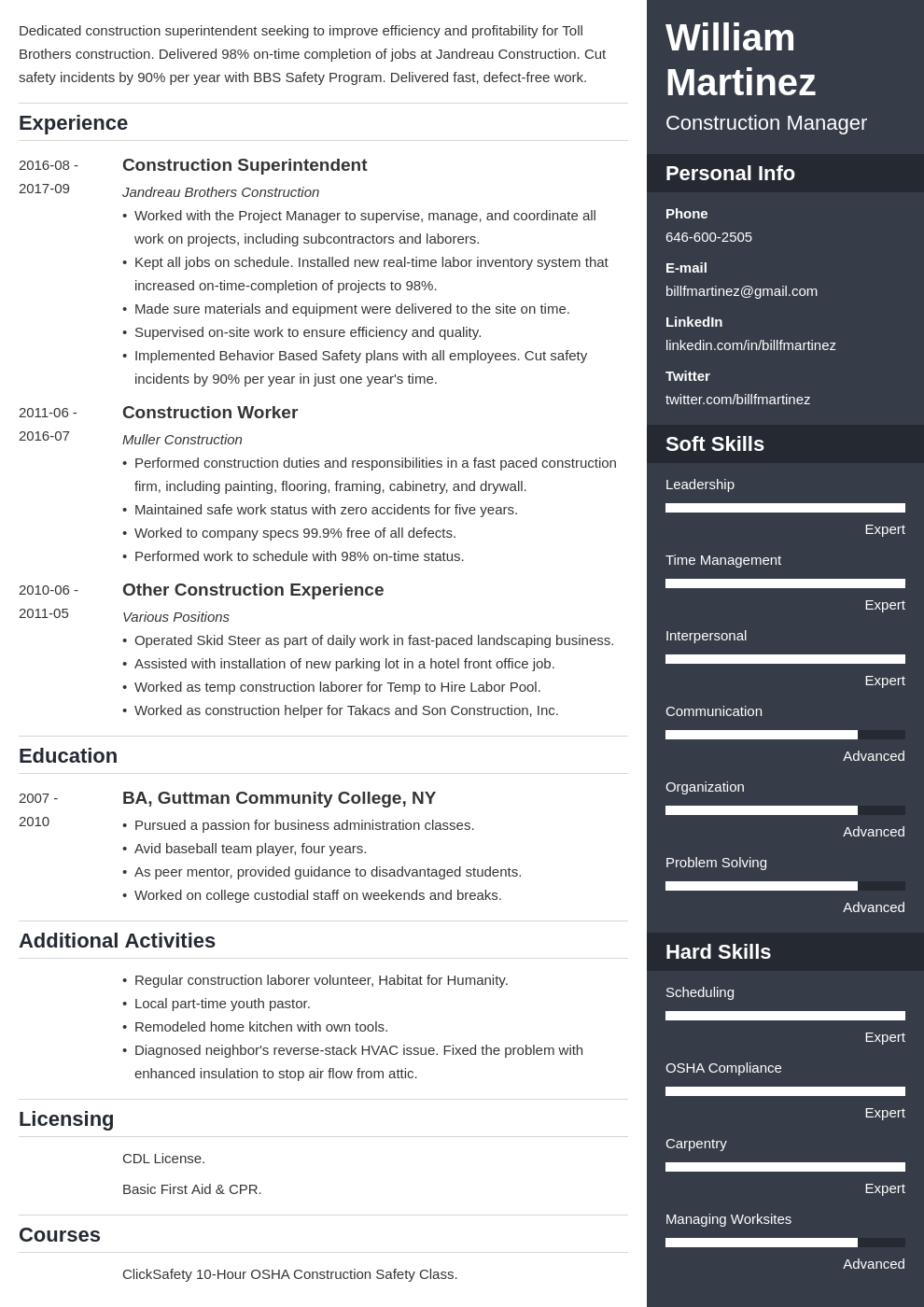 construction resume example template enfold