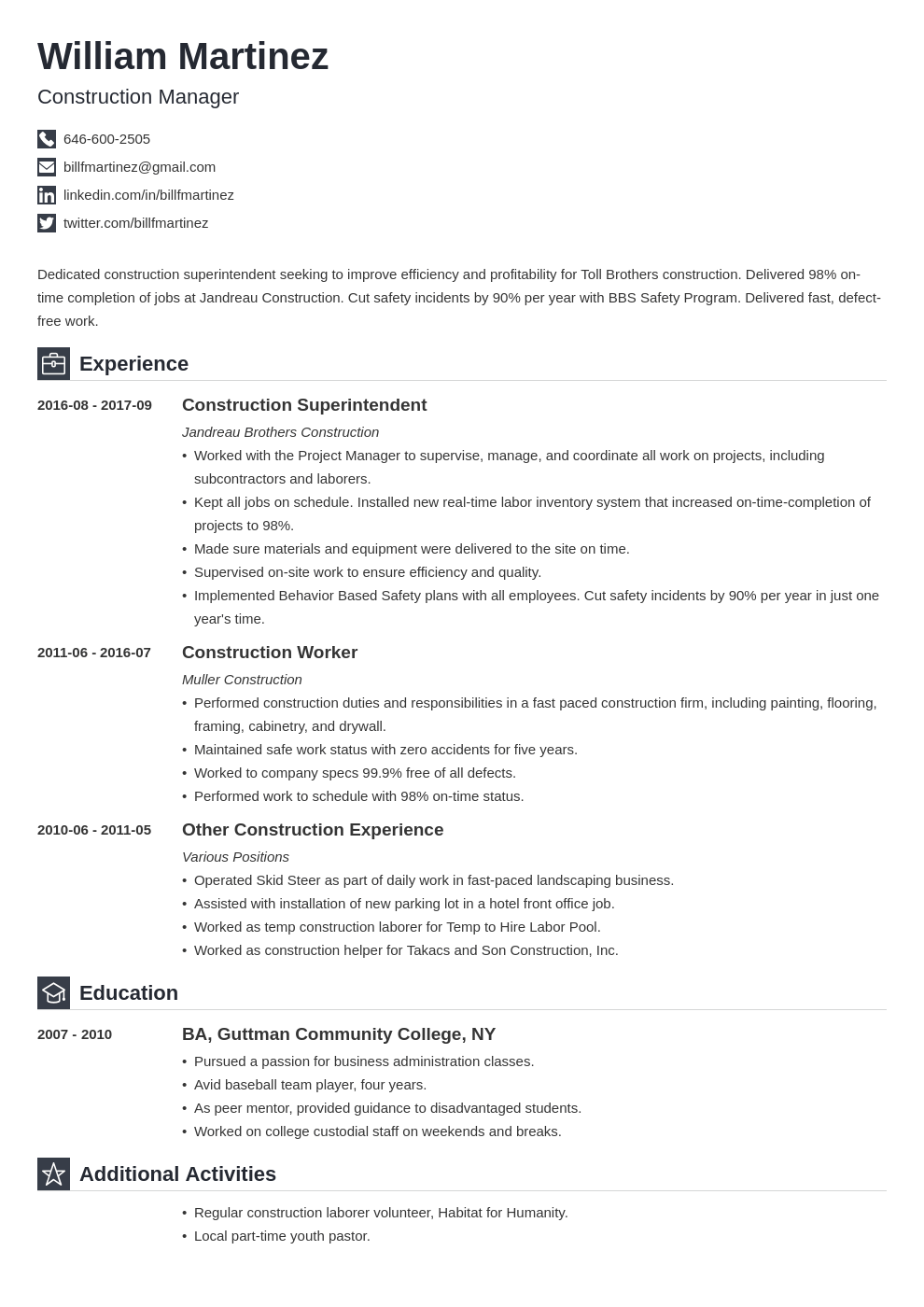 construction resume example template iconic