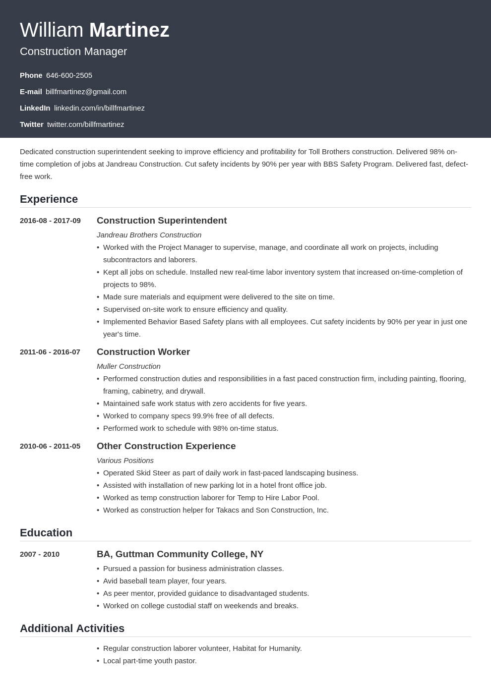 construction resume example template influx