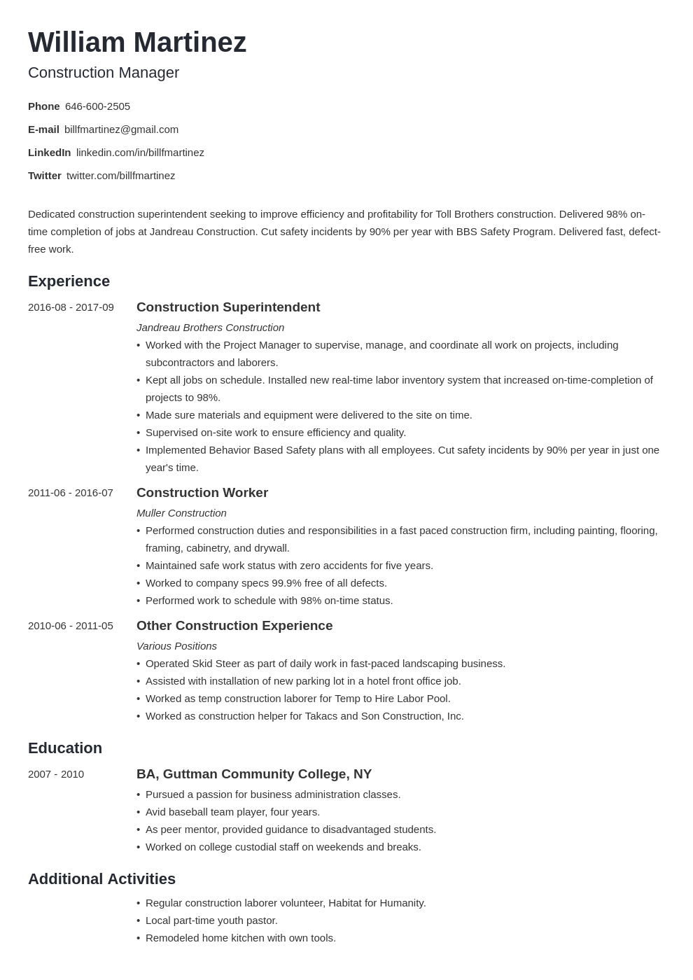 construction resume example template minimo