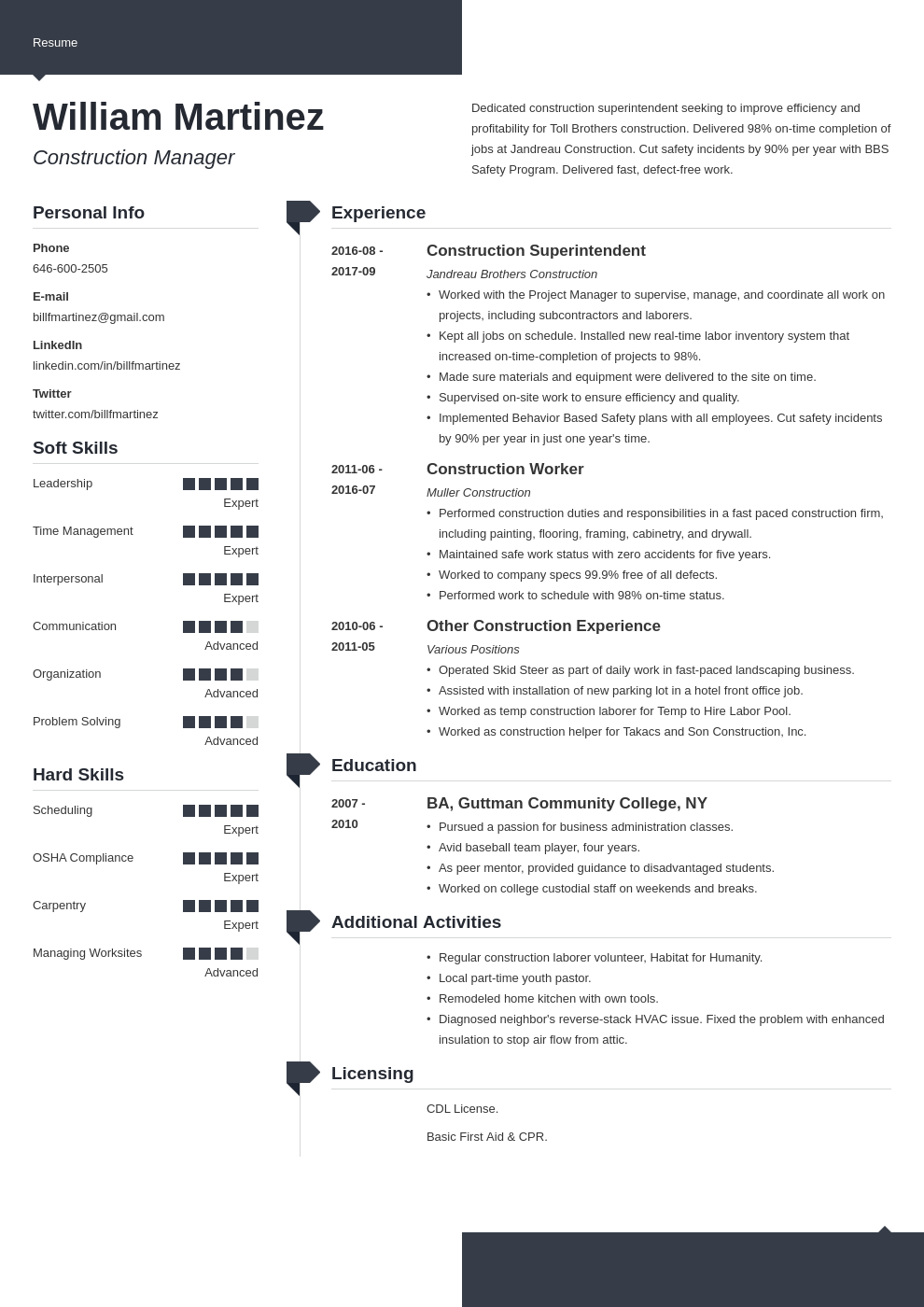 construction resume example template modern