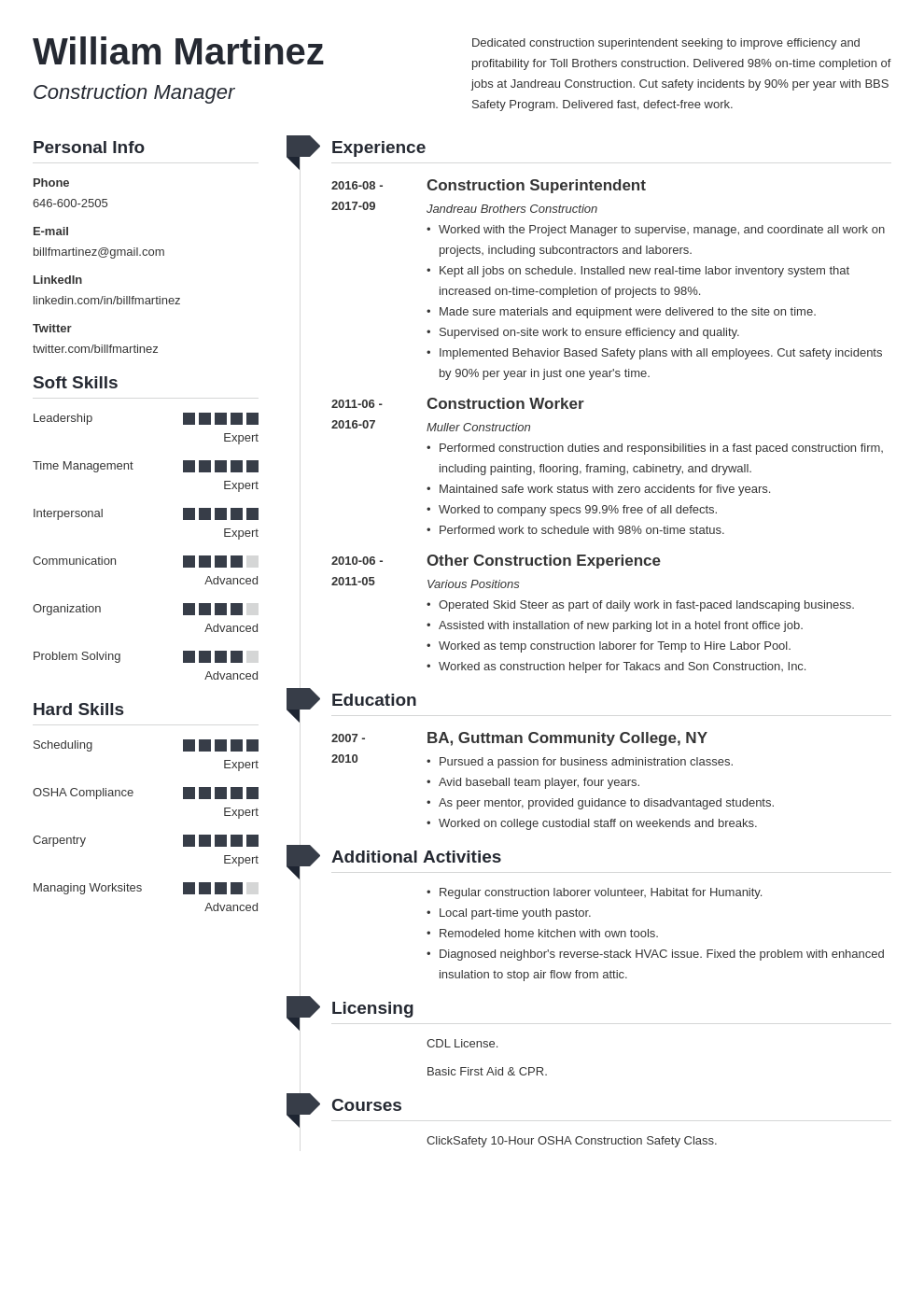 construction resume example template muse