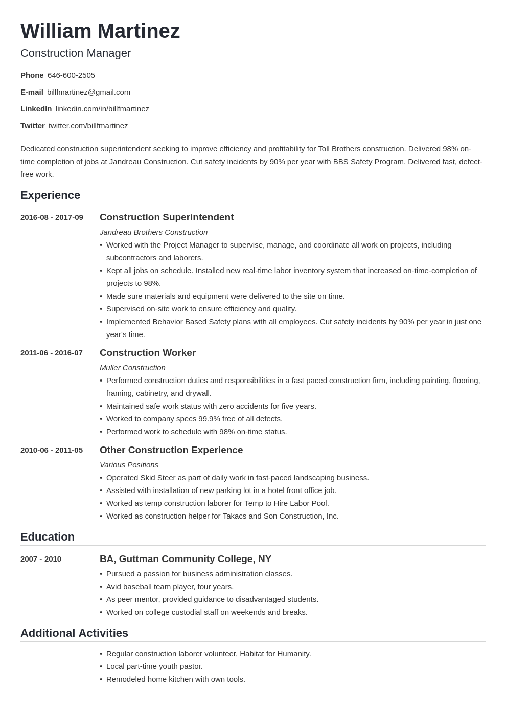 construction resume example template nanica