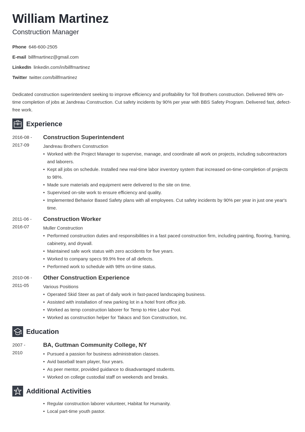 construction resume example template newcast