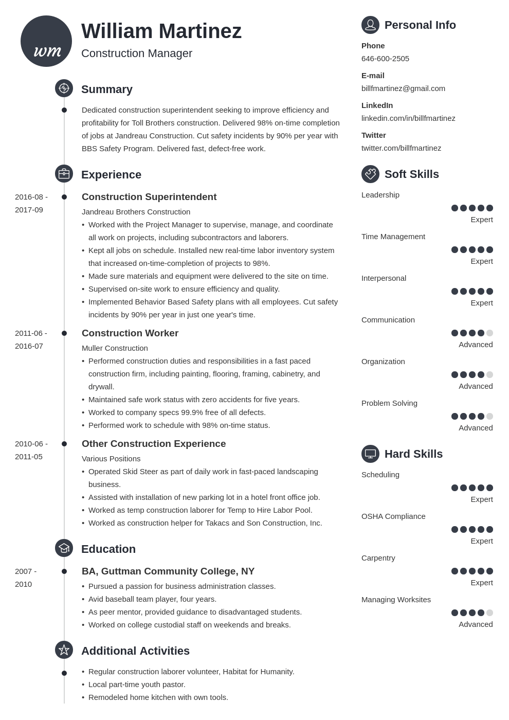construction resume example template primo