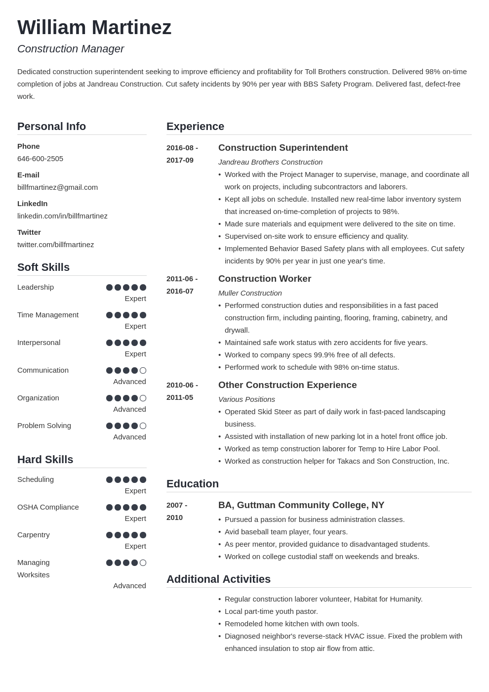 construction resume example template simple