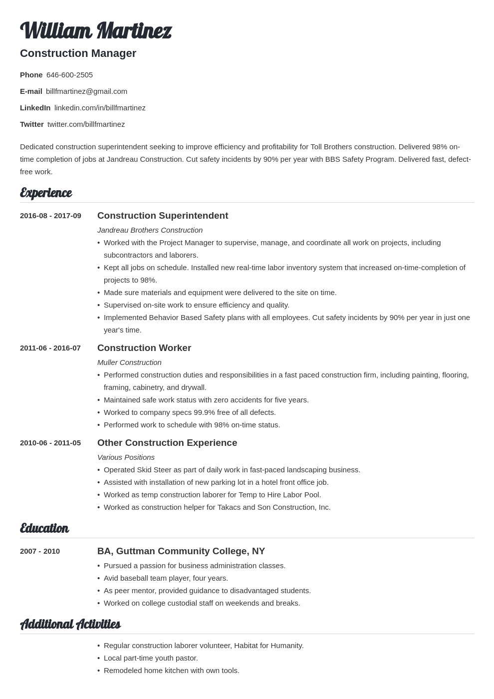 construction resume example template valera