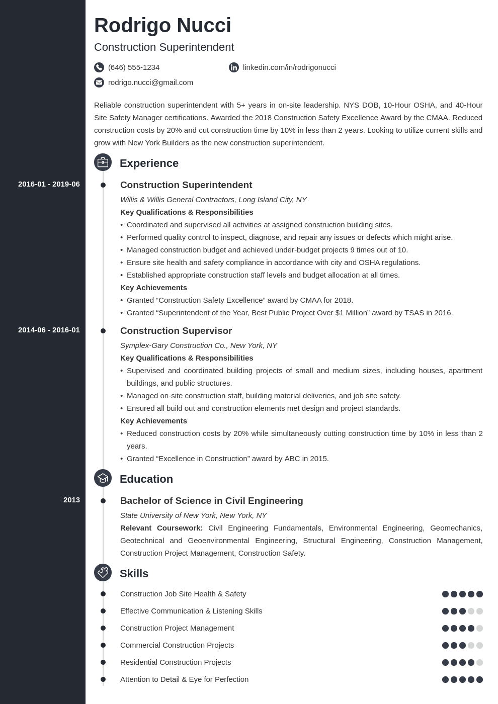 construction superintendent resume example template concept