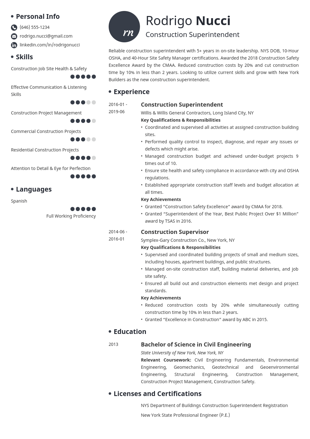 construction superintendent resume example template initials