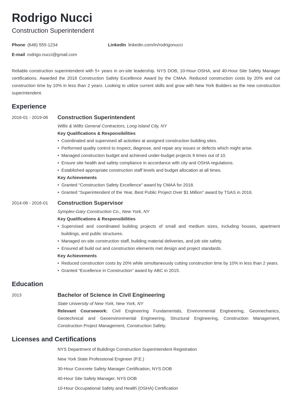 construction superintendent resume example template minimo