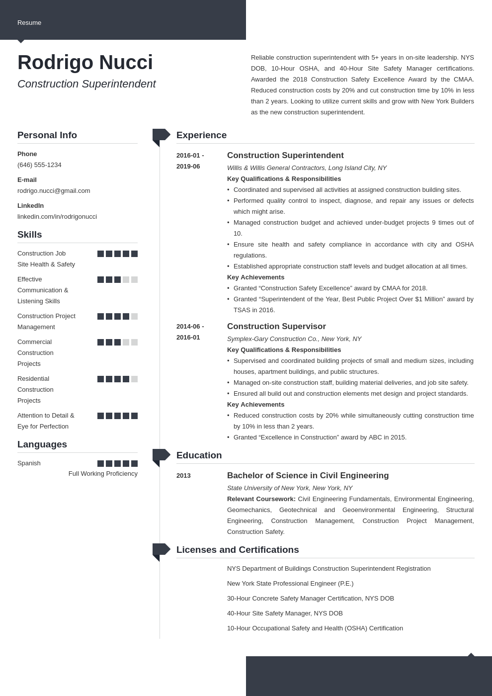 construction superintendent resume example template modern