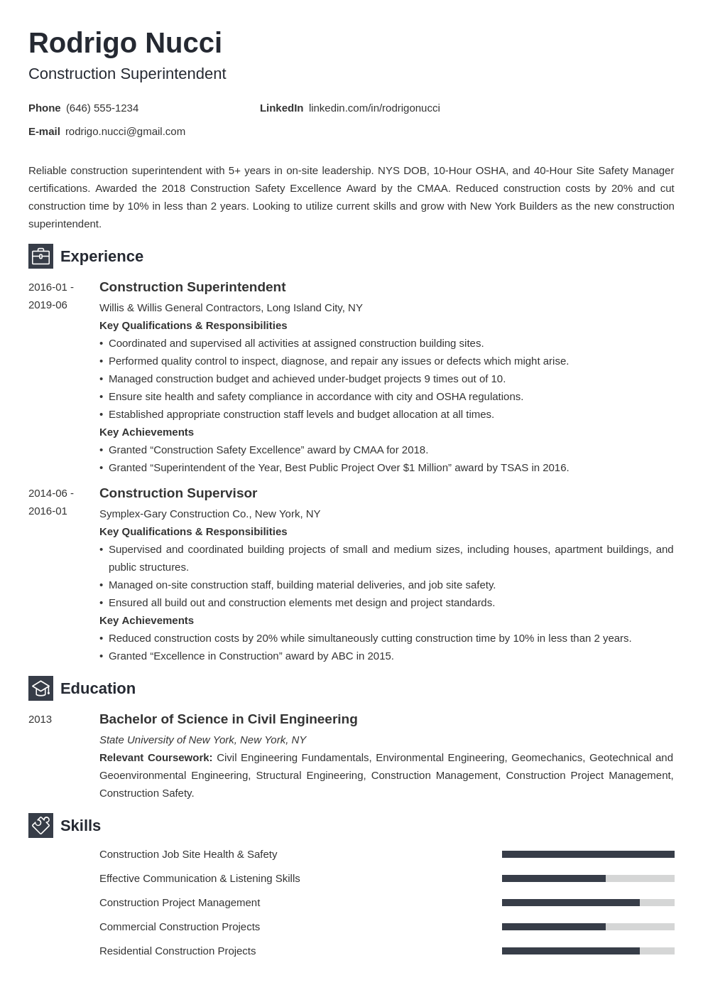 construction superintendent resume example template newcast