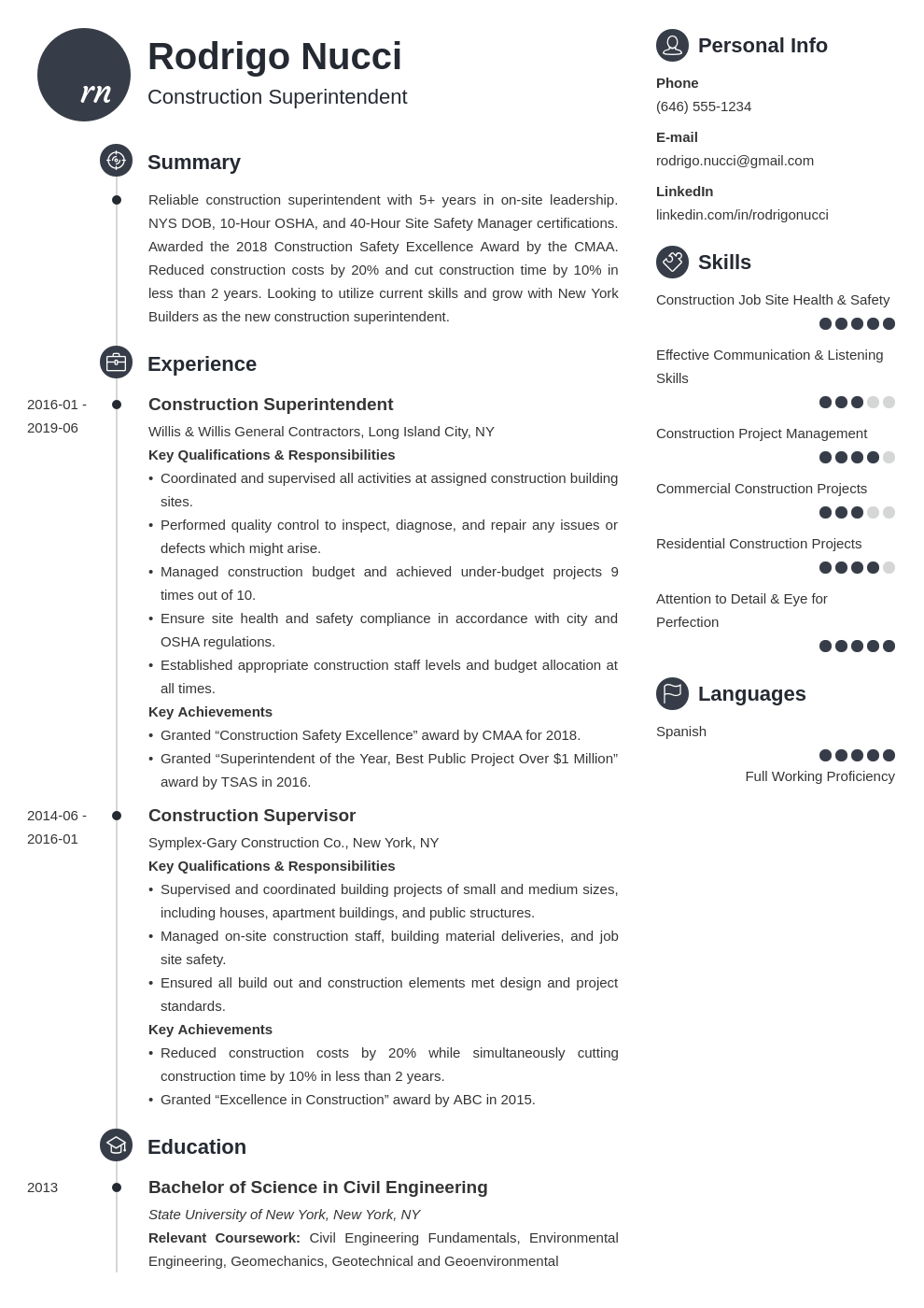 construction superintendent resume example template primo