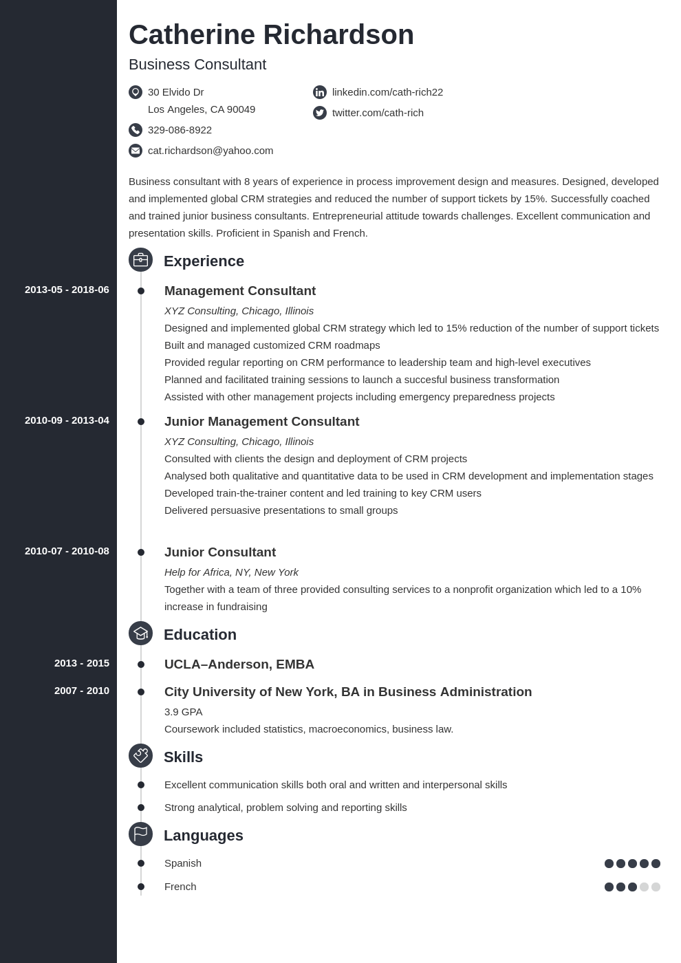 consultant resume example template concept